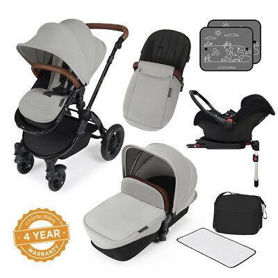 100% Vero Ickle Bubba Stomp V3 All-in-1 Baby Travel System: Base Isofix-argento Su Nero-