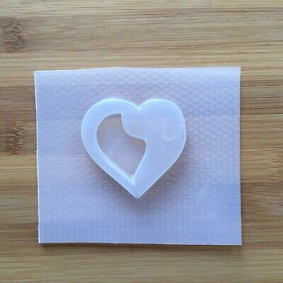 Dog Silhouette Heart Plastic Mold Resin Canine Love Outline Mould Animal Shaker