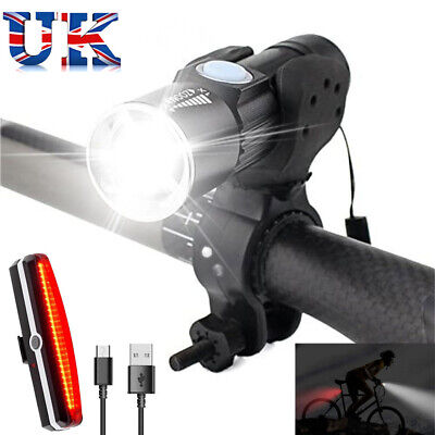 Rear Lights Set USB Rechargeable Waterproof UK LED Mountain Bike Bicycle Front