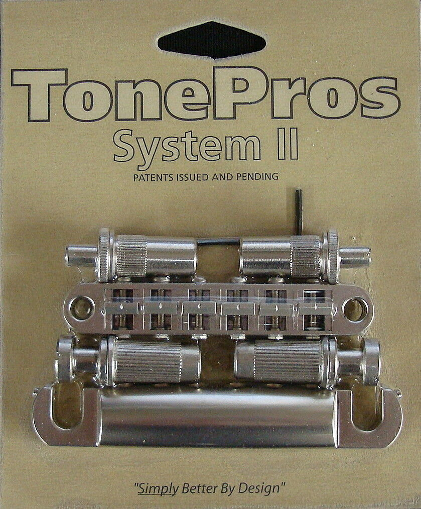 LPM02-SN TonePros Metric Bridge Tailpiece Set, pre-notched saddles,Satin Nickel