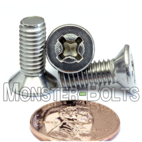 Qty 10 Stainless Steel DIN 965 Phillips FLAT HEAD Machine Screw A2 M6 x 16mm
