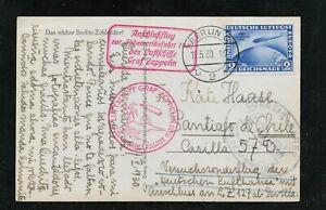 Germany stamp, Zepp postkard, first Sudamerika Fahrt MI438 Berlin 9.5.30 rare VF