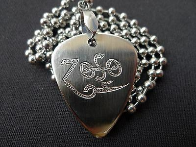 Led Zeppelin Zoso Hand carving Stainless Steel Guitar Pick Necklace
