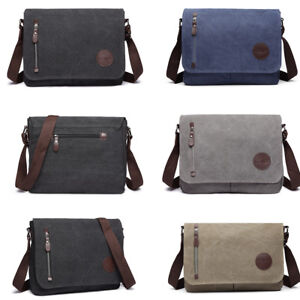 335d8a8e09 Men Canvas School Cross Body Shoulder Work Bag Messenger Bag Satchel