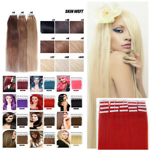 7A-15-20-EXTENSIONS-DE-CHEVEUX-TAPE-BANDES-ADHESIVE-POSE-A-FROID-NATUREL
