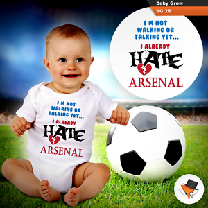 I HATE ARSENAL FUNNY BABY GROWS BODYSUIT VEST TOP FOOTBALL THEME BOYS GIRLS NEW