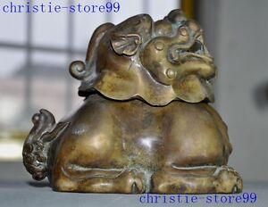 Old Chinese Bronze Buddhism pray lion beast Foo dog statue