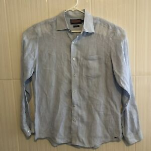 Vineyard-Vines-Mens-Button-Down-Long-Sleeve-Linen-Shirt-Sz-M-Classic-Fit-Tucker