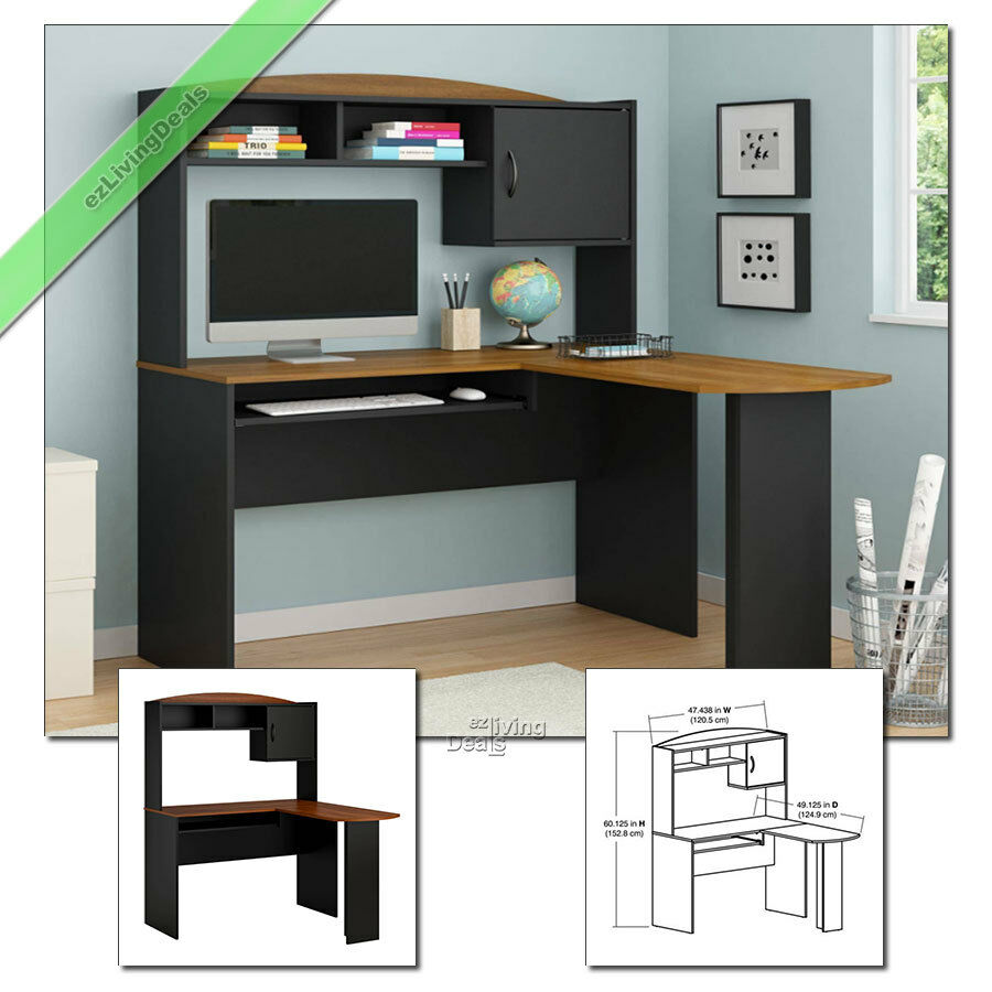 home office desk with hutch l shaped wood corner computer desks black cherry ebay. Black Bedroom Furniture Sets. Home Design Ideas