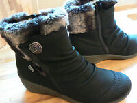 Rieker Mombasa Button Detail Ankle Boot With Faux Fur Trim 5 38 Black