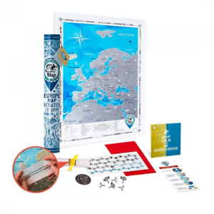 Scratch off Europe Map Poster - Large Detailed Travel 48 x 68 cm - Deluxe Silver