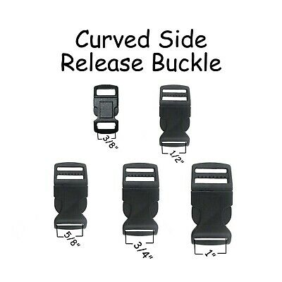 Buckles Black Plastic Curved Side Release Dog Collar Hardware Pick Size /& Qty.