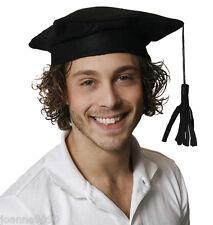 Black Mortar Board School College Graduate Graduation Fancy Dress Costume Hat BN