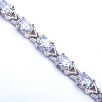 Arrival 10ct Oval Russian Cz Tennis Bracelet .925 Sterling Silver Limited on sale