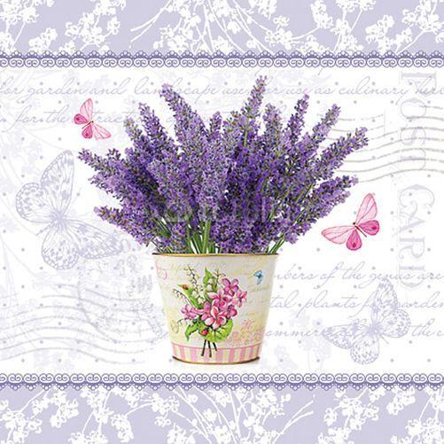 20 Paper Napkins FLOWERING LAVENDER Decoration DECOUPAGE Violet 33x33cm