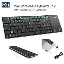 Rii K12 Wireless UltraSlim Keyboard Mouse Touchpad Metal Tablet/Phone Black 015
