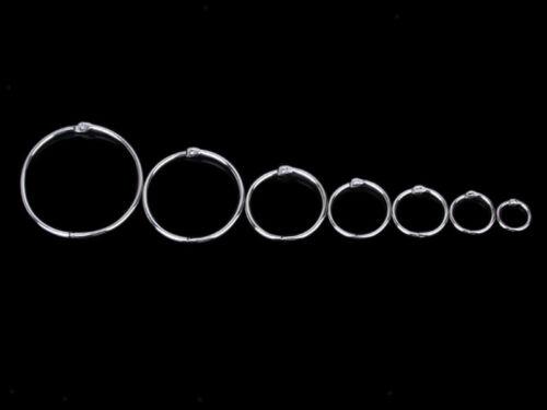 10pcs Silver Metal Loose Binder Hinged Rings Keyrings Scrapbook Crafts 15mm