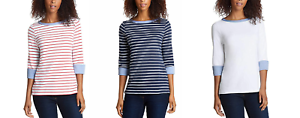NEW-NAUTICA-WOMEN-039-S-3-4-CUFFED-SLEEVE-CHAMBRAY-CASUAL-TOP-VARIETY