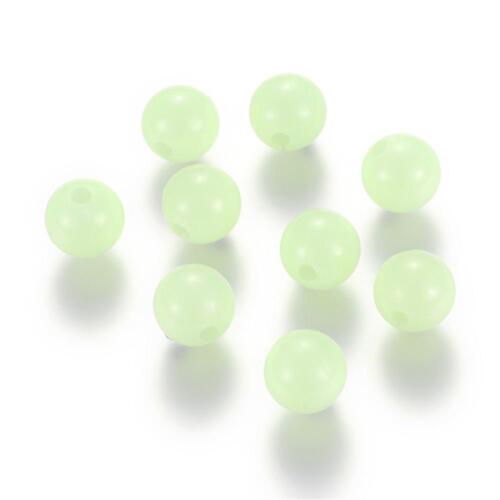 2233 50 Stück 10mm Acrylperlen  leuchtend Nachtleutend Acryl Perlen hellgrün