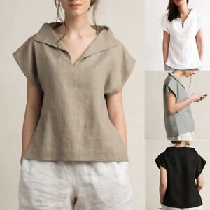 Women-Short-Sleeve-Plus-Size-Loose-Solid-Cotton-Top-Tee-T-Shirt-Office-OL-Blouse