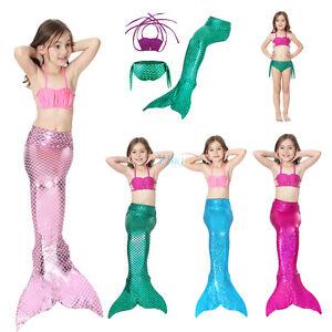lo último 7004b d67e8 Detalles de 3 PIEZAS Set Niña Cola De Sirena Nadar Monoaleta Bikini Traje  Baño Ropa Disfraz