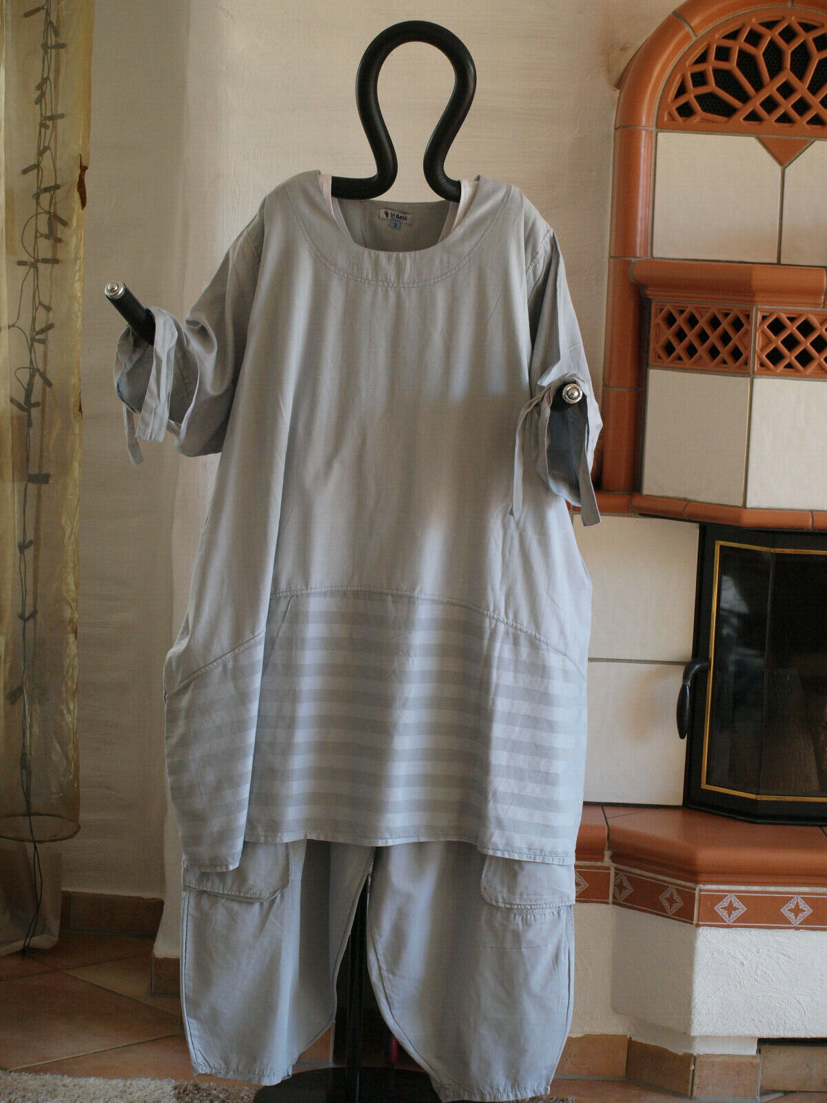 1840 LABASS Lagenlook Big Shirt Ballonform silber grau gestreift Gr. XXL 52 54