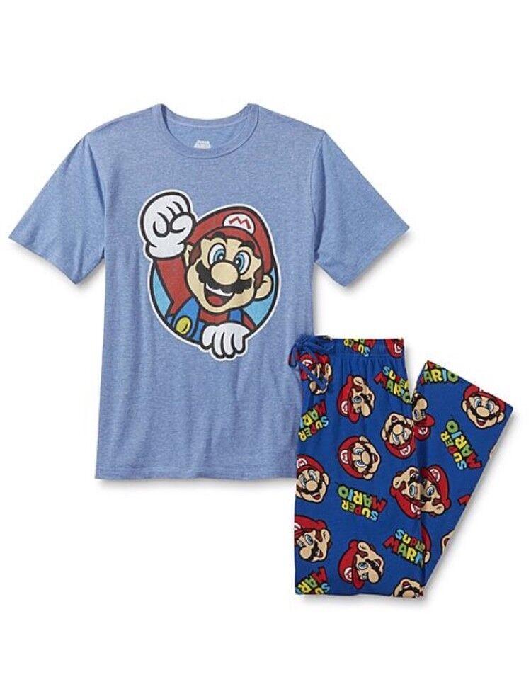 Super Mario Pajamas Top & Pants Large L Cotton Polyester PJS New Fast USPS Ship