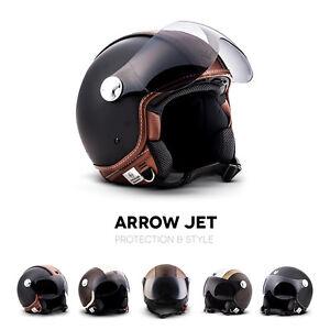 """Armor /· AV-84 /""""Vintage Deluxe White/"""" /· Open Face Helmet /· Pilot Scooter Motorcycle Jet Motorbike Retro /· ECE certified /· Visor /· Click-n-Secure Clip /· Carrier Bag /· L white 59-60cm"""