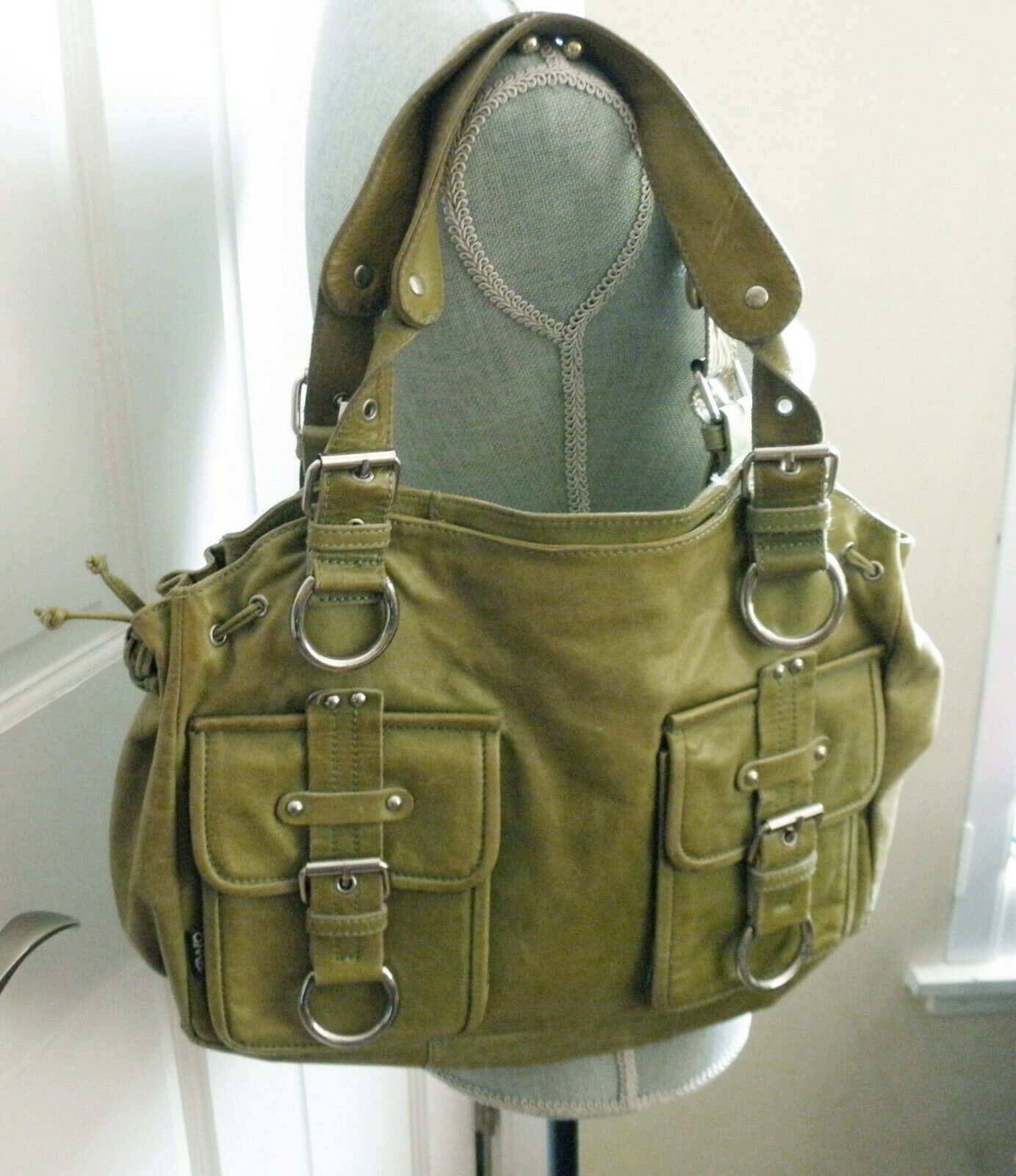 TANO Green Leather tote Satchel large x-large
