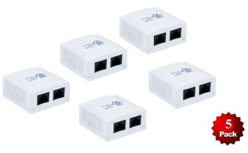 5 Pack x 2-Port CAT5e RJ45 Double Duplex Surface Mount Box 110 Punch Down Cable