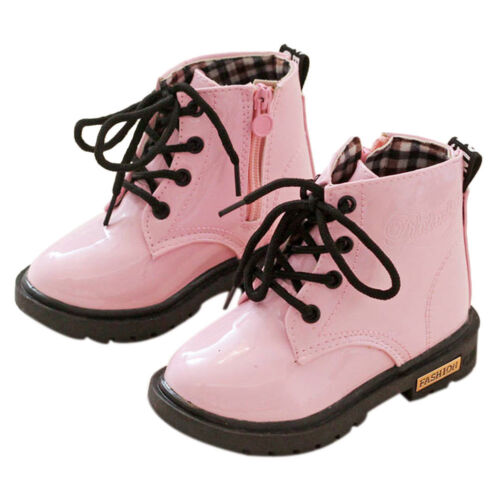 Chic Girls Boys Children Kids Winter Casual Flat Pumps Tied PU Boots Shoes Gifts