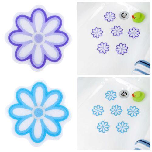 6 Non-Slip Flower Treads Adhesive Daisy Bath Treads in Purple or Blue