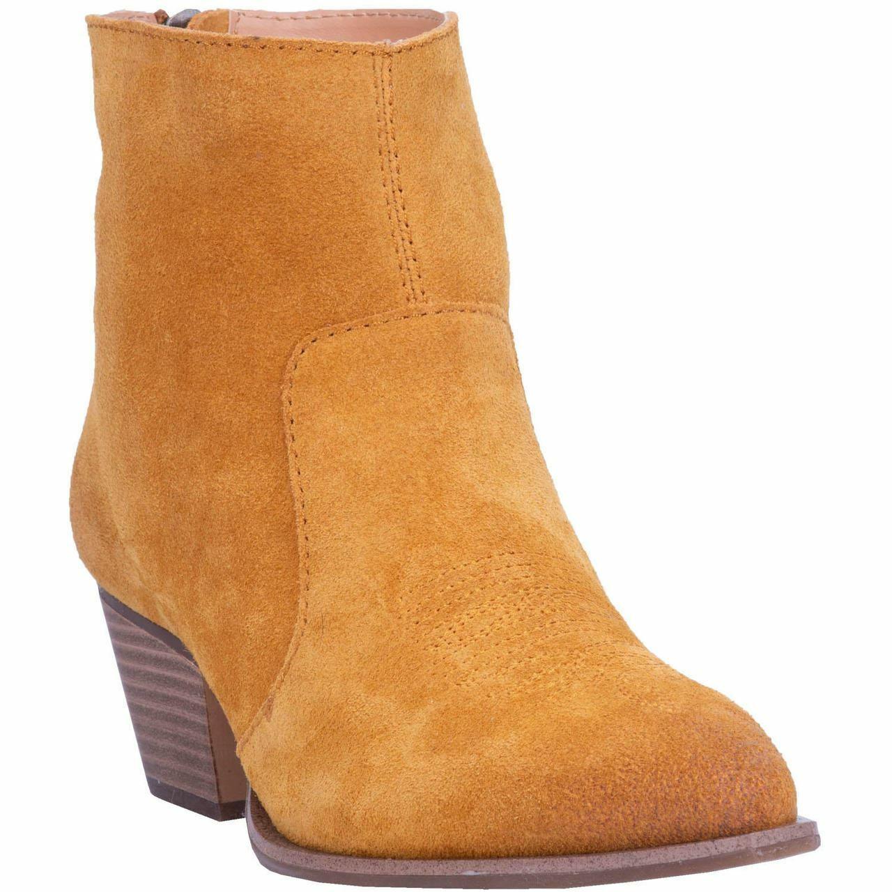 Dingo Women's Klanton Western Cowboy Ankle Boots Mustard DI 112