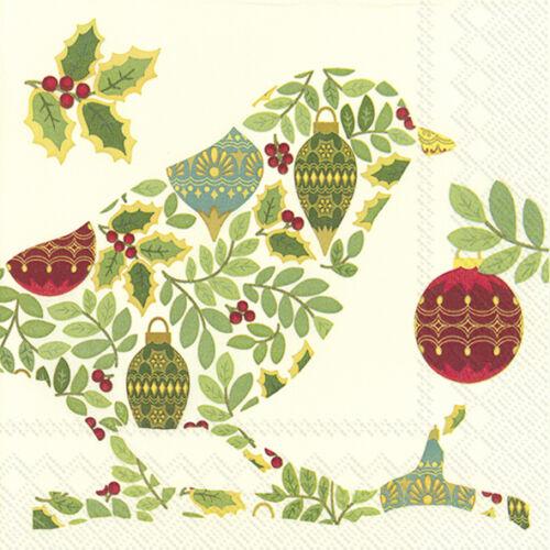 environ 50.80 cm FETE oiseau Crème Noël Papier de table Déjeuner serviettes 33 cm SQ 20 in Pack