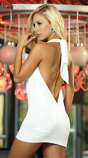 White Deep V- neck Bandage Dress Bodycon Open Back Sexy Club Party for Women