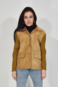 VINTAGE-PELLE-Giacca-Beige-In-Suede-Taglia-M-Stile-Casual-Donna-Woman