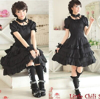 81120 Punk Sweet Gothic Lolita Slim Corset short sleeve Cake Dress Black S~L
