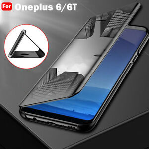 separation shoes 6b655 c6c89 For Oneplus 6/6T Clear Mirror Smart Case Flip Leather Stand 360 ...