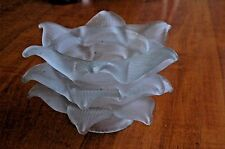 """Art Deco TRIPLE Petal Frosted Glass French Style Lamp Shades Fits 2 1/4"""" PAIR 5"""""""