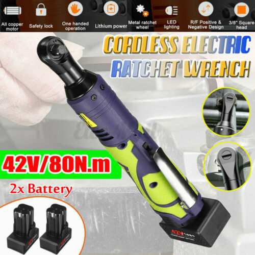 """42V 80NM 3//8/"""" Cordless Electric Ratchet Wrench Tool Set with Battery E"""