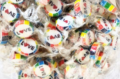 LOVE Pride Rainbow Wrapped Rock Sweets in Pride Colours Watermelon Flavour