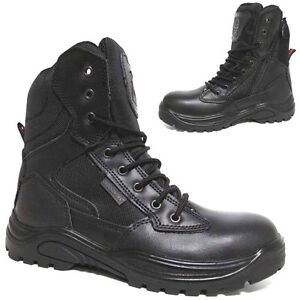 de sécurité combat de Chaussure militaire de bottes police armée la cuir cuir mens de en acier xqYUftUw