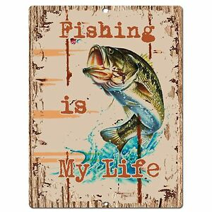 PP0536-Fishing-Plate-Chic-Sign-Bar-Store-Shop-Cafe-Restaurant-Kitchen-Decor-Sign