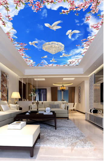 3D Weiß Doves Sun 75 Ceiling Wall Paper Print Wall Indoor Wall Murals CA Lemon