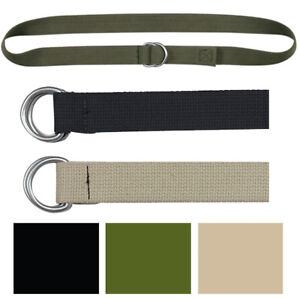 Canvas Web Belt D-Ring Double Buckle Adjustable Military Cotton ... 3afe6a9f993