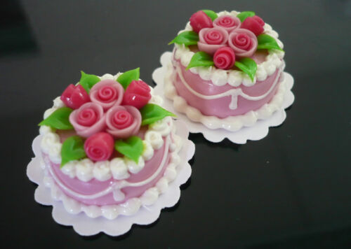 Set of 2 Pink Cakes Pink Rose Top Dollhouse Miniatures Food Supply Deco