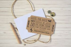 Vintage Ticket Save The Date Cards With Envelopes Wedding