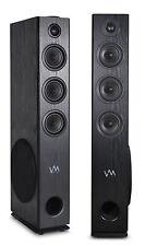 VM Audio EXAT31 Black Floorstanding Powered Bluetooth Tower Home Speakers Pair