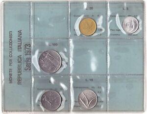 1973 Italia Set Annuale Ridotto 5 Monete Fdc Bu