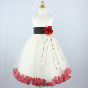 Ivory black with red flower girl dress petals formal recital prom image is loading ivory black with red flower girl dress petals mightylinksfo